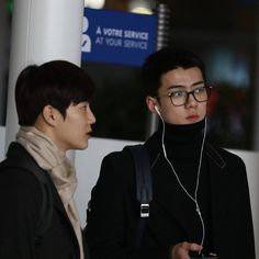 Sehun and Suho on their way to Paris Fashion Week for Louis Vuitton Show