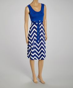 Look what I found on #zulily! Royal Blue & White Zigzag Sleeveless Dress by GLAM #zulilyfinds