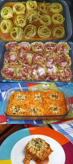 MACARRÃO NINHO NO FORNO #macarrão #macarrãodeforno #comida #culinaria #gastromina #receita #receitas #receitafacil #chef #receitasfaceis #receitasrapidas