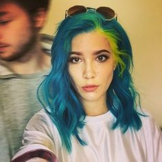 Blue hair with bright yellow streak - I love the yellow stripe....I feel like it would be hard to keep from bleeding together?