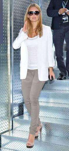 White on white blazer w grey jeans