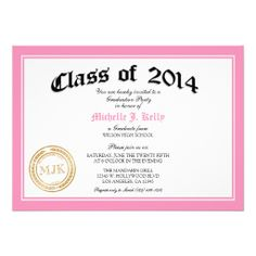 2014 Pink Diploma Graduation Party Personalized Invite