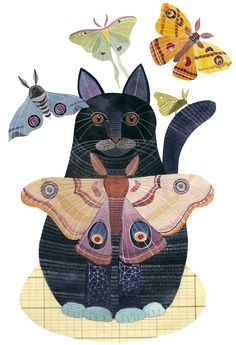 I love that Geninne posts lots of in progress to the finished painting. So great. As a side note, I LOVE cats but I'm TERRIFIED of moths! They are the only thing in the world that scares me!