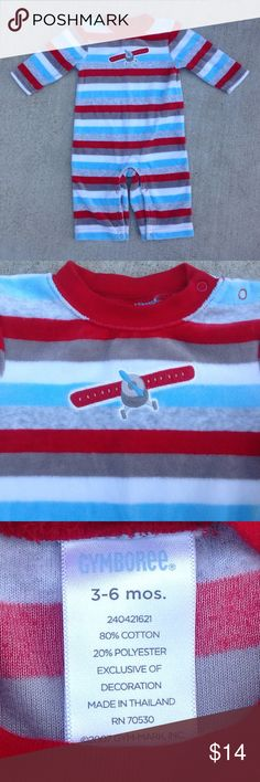 Gymboree Infant Boy Striped with Airplane Onesie Soft velour long sleeve onesie with red, white, light blue, and gray horizontal stripes with an appliquéd airplane on the chest. Red trim around the collar, snap crotch. Gymboree New condition Gymboree One Pieces