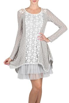 Rent this Ryu Silver Lace Tulle Dress for $20 or buy it for $89.99! This dress includes a silver overlay with flower lace and silver tulle underlay.