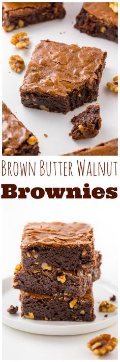 Thick and chewy Brown Butter Walnut Brownies! These are so flavorful and delicious. Yummy Treats, Delicious Desserts, Sweet Treats, Dessert Recipes, No Bake Brownies, Brownie Cake, Baking Brownies, Cookie Brownies, Brownie Bites