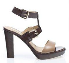 bicolor high heel sandal