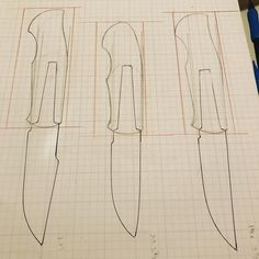 Sketching up a few designs. What do you think? ●●●●●●●●●●●●●●●●●●●●●● #knifelife #knivesofig #knivesofinstagram #knives #knife #knifemaking #customknives #handmadeknives #bladeforums #blade #hiddentang #fixedblade #handcrafted #handmade #knifemaker #camping #knifecommunity #knifeblade #bushcraft #outdoors #wip #shopupdate