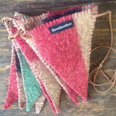 Vintage Wool Blanket Banner No. 3 by HomeSpunStyle on Etsy