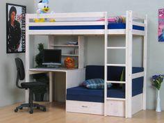 Hoogslaper wit met bureau, bank en kussenset blauw Thuka, bank onderin ...