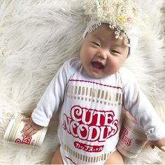 Gingerbread Man Christmas Baby Outfit, Premium Quality Bodysuit and Hat, Unique Baby Christmas Gift The cutest ramen noodles baby onesie ever! look at the ramen hat! Cute Baby Costumes, Baby Halloween Outfits, Baby Girl Halloween Costumes, Newborn Christmas, Baby Christmas Gifts, Funny Baby Clothes, Funny Babies, Baby Onesie, Onesies
