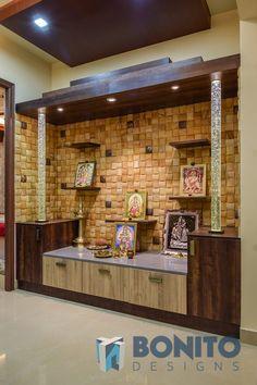 Purushotham Reddy unit design With Stone Cladding unit stone Modern Tv Cabinet, Modern Tv Wall Units, Pooja Room Door Design, Home Room Design, Tv Wall Design, Ceiling Design, Temple Design For Home, Front Door Design Wood, Mandir Design