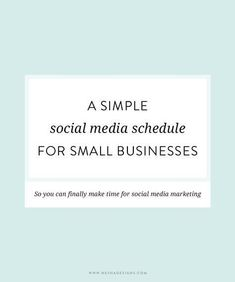 Great sample schedule for social media in a small business. Seems like a great blog for creative entrepreneurs too.