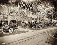 French Automobile display in the Palace of Transportation at the 1904 World's Fair.