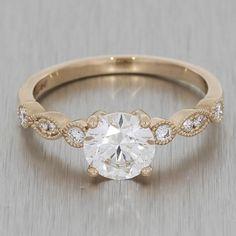 Rose Gold Vintage Engagement Ring With Milgrain Shoulders