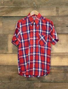 American Classics :: Mikkel Rude Short Sleeve Window Pane Check Shirt Crimson Red #10