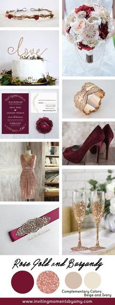 Rose Gold and Burgundy Wedding Colors october wedding colors schemes / fall wedding ideas colors october / fall wedding ideas november / fall winter wedding / fall colors for wedding Gold And Burgundy Wedding, Burgundy Wedding Colors, Maroon Wedding, Deep Burgundy, Burgundy Wine, Burgundy Bridesmaid, Bridesmaid Color, 2018 Wedding Colors, Burgundy Heels