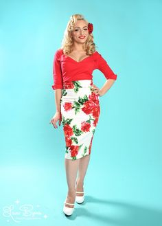 Pinup Couture Pencil Skirt in Red Floral - No retro wardrobe is complete without the classic pencil skirt -  Made from a  cotton/spandex blend in red floral print, its as comfortable as it is cute! Features include: a sexy, curve-hugging silhouette, a high waist with 2 yoke, and a provocative, 10 back slit.