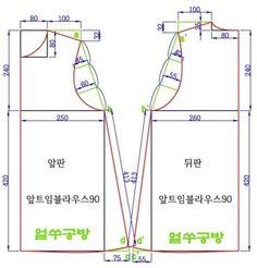 앞트임블라우스는 신축성없는 원단을 이용한 블라우스를 제작하기 위한 옷본 중의 하나이다. 1) 치수표앞트...