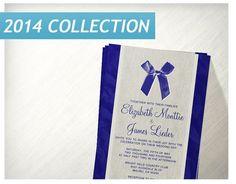 Royal Blue Vintage Bow Linen Wedding Invitations