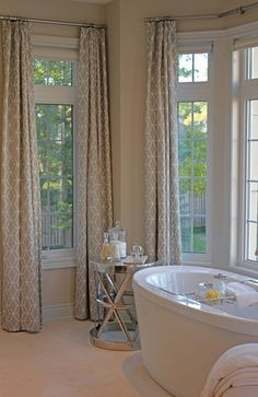Love these bathroom drapes from Carroll Living -- Ensuite Envy! Top Pinch pleat drapes by Living in Bethe Pearl Linen take this ensuite to a new level of serenity! House Design, House, Interior, Eclectic Home, House Styles, Drapes And Blinds, Bathroom Decor, Beautiful Bathrooms, Bathroom Inspiration