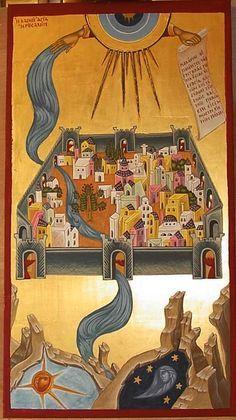 Η Καινή Ιερουσαλήμ The New Jerusalem (by Athina Alexopoulou Pappa) Byzantine Icons, Byzantine Art, Religious Icons, Religious Art, Famous Freemasons, Greek Icons, Water Icon, Biblical Art, Art Icon