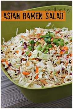 Asian Ramen Salad {Makes about 12 servings} You will need: 2 bags of coleslaw mix 3 packages of Chicken Ramen Noodles - set the seasoning packets aside 3 green onions, diced 1 cups slivered almonds (or whatever close amount you can find) 1 st Vegetarian Recipes, Cooking Recipes, Healthy Recipes, Drink Recipes, Vegetarian Ramen, Delicious Recipes, Asian Ramen Salad, Ramen Coleslaw, Coleslaw Mix