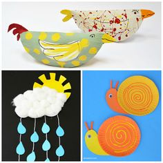 Paper plate spring crafts for kids: birds, sun with cloud, snails. Easy crafts for toddlers. | at Non-Toy Gifts