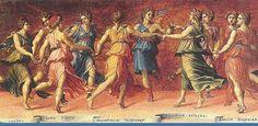 """MITOLOGIA - """"Após a derrota dos Titãs, os deuses pediram a Zeus que criasse divindades capazes de cantar condignamente a vitória dos Olímpicos. Zeus partilhou o leito de Mnemósina durante nove noites consecutivas e, no tempo devido, nasceram as nove Musas (...) cuja função era residir ao pensamento sob todas as formas: sabedoria, eloquência, matemática, persuasão, história, astronomia"""" (Junito Brandão) - Da pasta: Adendo II - Mitologia.– Musas - Wikipédia, a enciclopédia livre"""