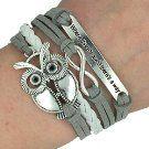 Trendy Frauen Unendlichkeit Owl Eule Freundschaft Antique Leder Nette Charm Armbänder & Armreifen Geschenk inklusive Geschenkbox von Boolavard TM