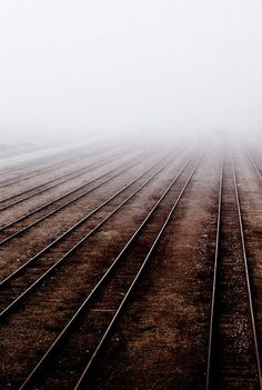 lonely railroad is covered by fog Coffee And Cigarettes, Jolie Photo, Train Tracks, Dark Side, Railroad Tracks, Mists, Art Photography, Beautiful Pictures, Scenery