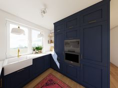 Wizualizacja kuchni. Granatowe fronty kuchenne i marmurowy blat - blog meble / wnętrza / diy