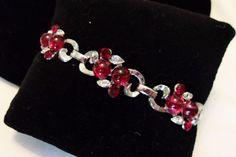 CORO Red & Diamante Rhinestone Bejeweled Silver tone Vintage 1940s BRACELET #Coro