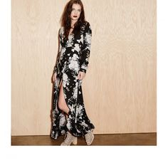 """Knot Sisters """"Daphene"""" Dress, Black Floral Wrap dress is a classic 70s throwback updated as a maxi. #Wrap Dress #Maxi"""
