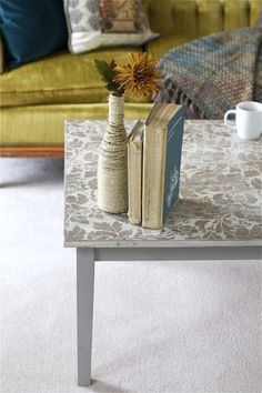 Stenciled Coffee Table - offbeat + inspired