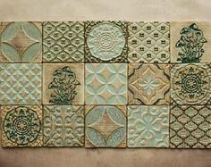 Handmade Ceramic Rustic Multicoloured Tiles for Kitchen/Bathroom Backsplash - Wall Tile - Decorative Tile - Moroccan Style - Tabletop