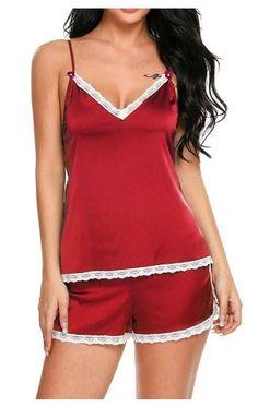 289a4a369e3 Womens Sleepwear Satin Pajama Cami Set Sexy Nightwear XS-XXL in Clothing