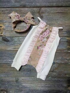 Vintage Floral Ivory Rose Pink Newborn Girl Harem Romper Take Home Outfit Set