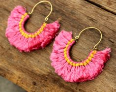Day dreaming pink funky fluff cotton earring with silver highlights