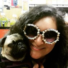 "De Los Ninjas on Instagram: ""Who hit up Yappy Hour tonight??  We ❤ the SIT, STAY, PAY ME custom shades we made for our favorite dog trainer, Nancy, with Jade of @ThePugsBlossomAndJade Hit us up for your custom pair- store link in bio! ☝"""
