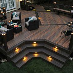 Love This look! black fence wood deck -
