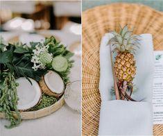Casamento Tropical em Ilha Bela - frutas na decoração! Tropical, Table Decorations, Party, Wedding, Home Decor, Marriage Invitation Card, Wedding Decoration, Summer Decorating, Beautiful Landscapes