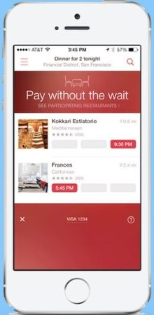 OpenTable's app allows you to pay for your meal directly through it.