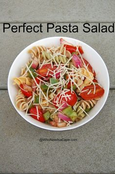 Perfect Pasta Salad makes a great meal OR side! It's a great dish for Meat Free Monday or a BBQ! It has a ton of flavor – click here to make it!