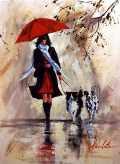 Helen Cottle 1962 red umbrella and walk in the rain Art And Illustration, Diy Painting, Painting & Drawing, Rain Art, Umbrella Art, Photo D Art, Love Art, Amazing Art, Art Gallery