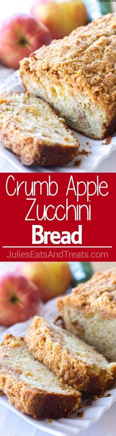 zucchini pizzas Crumb Apple Zucchini Bread ~ easy, quick bread recipe filled with fresh grated z. Crumb Apple Zucchini Bread ~ easy, quick bread recipe filled with fresh grated zucchini and sweet apples then topped with a yummy crumb topping Brownie Desserts, Köstliche Desserts, Delicious Desserts, Dessert Recipes, Yummy Food, Healthy Bread Recipes, Apple Recipes, Sweet Recipes, Cooking Recipes