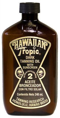"Hawaiian Tropic Dark Tanning Oil ""with sunscreen"" - Scary to think how religiously we ""laid out"" and the permanent damage done, visible sooner or later through saggy skin or cancer!"