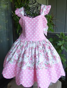 Little girls pink floral sundress with scallop hem by EmelineDesign on Etsy