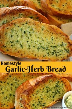 Homestyle Garlic Bread – This homemade garlic herb is the recipe I get most when cooking bread for our meal. It is clear that I always have the ingredients on hand and my family loves it. That makes this recipe a triple threat. Bruschetta, Homemade Garlic Bread, Homemade Breads, Bread Recipes, Cooking Recipes, Fancy Dinner Recipes, Dinner Ideas, Herb Bread, Good Food