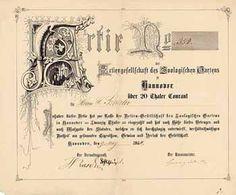 AG des Zoologischen Gartens zu Hannover Actie 20 Thaler 9.5.1864. Gründeraktie (Auflage 2479, R 10).